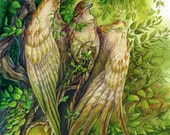 Pressing the Veil - Fantasy Forest Falcon Print - Faerie Woods Art