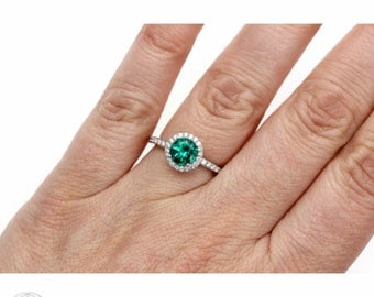 Emerald Engagement Ring Emerald ring Platinum Diamond Halo May Birthstone Gemstone Ring Wedding Ring