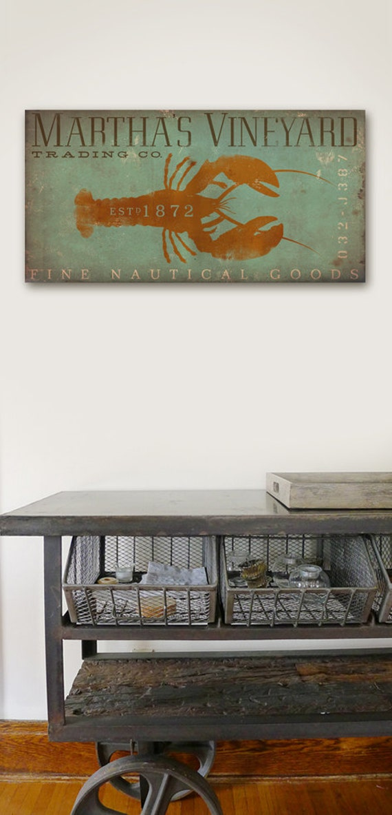 Martha's Vineyard Trading Company Lobster original graphic art on gallery wrapped canvas by stephen fowler