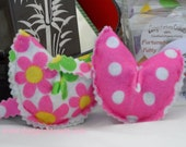 Organic Catnip toys, Retro Flower print on white and Pink with white Polka Dot Fortune Cookies in Box, set of 2