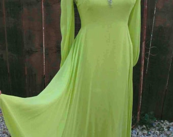 Lime vintage Chiffon dress 60s Green Beaded dress vintage Green Party Dress Vintage 60s Green alternative wedding gown  S M