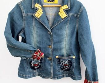 Agoraphobix Punk Princess tailored studded upcycled denim jacket | jeans jacket