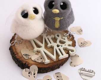Mini Birds Wedding Cake Topper Grey and Yellow Bride and Groom Needle Felted Birds