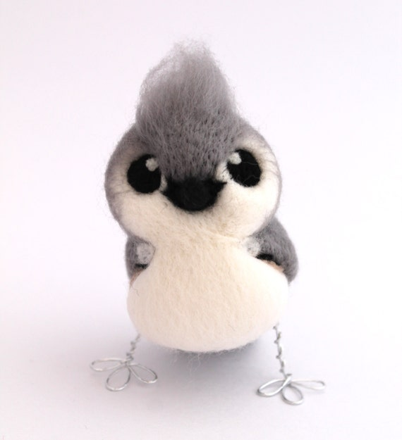 Needle felted Bird Tufted Titmouse in Soft Grey and White