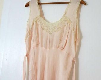 Vintage Trillium pale pink long nightgown with lace detail