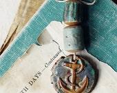 Shipwrecked Anchor- handmade ceramic pendant bead set
