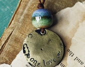 One Love- handmade ceramic and brass necklace