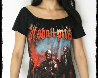 All Shall Perish shirt Metal Off Shoulder top metal clothing reconstructed altered band tee t-shirt alternative apparel rocker chic clothes