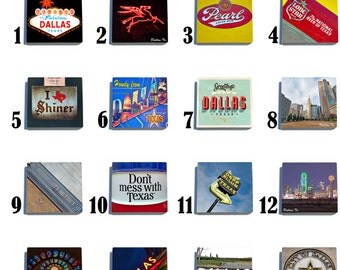 Dallas, Texas - Stone Drink Coaster Set - Pick Any 4