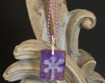 Flower Lilac Carved Dichroic Glass Pendant - FREE SHIPPING!