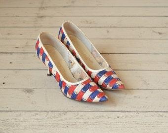 SALE /// 1960s Pumps --- Vintage Red White Blue De Liso Debs Heels