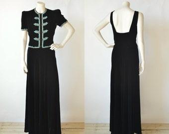 1940s Black Velvet Gown --- Vintage Old Hollywood Dress