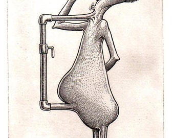 """BASIL WOLVERTON """"BARFLIZE"""" # 4 ~ Genuine Hand Crafted / Pulled Limited Edition Fine Art Print Etching Signed and Numbered."""