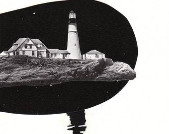Lighthouse - Collage - Original Art - Original cut paper collage - works on paper - black and white art - wall art