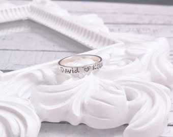 Mothers stacking ring, Hand stamped stackable ring, personalized ring, sterling silver ring, Personalized Wedding, Mothers Day gift