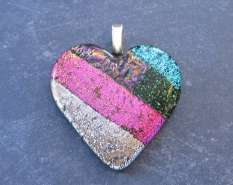 Heart Necklace, Large Dichroic Glass Pendant, Colorful Striped Heart Pendant, Pink, Silver, Green, Blue, Glass Fuse - My Darling -4628-4