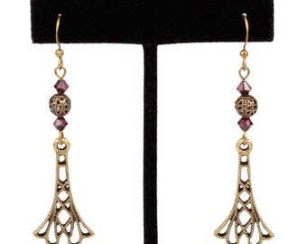 Steampunk Antiqued Brass Earrings with Swarovski Burgundy Crystals and Brass Filigree Beads by Velvet Mechanism