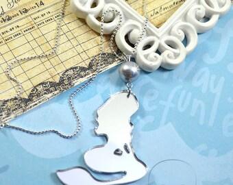 SILVER MIRROR MERMAID - Laser Cut Acrylic Charm Necklace
