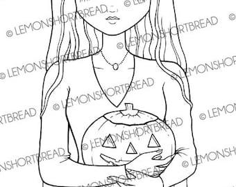 Digital Stamp Halloween Morticia, Digi Download Goth Girl, Jack O' Lantern, Holiday, Scrapbooking Card Supplies, Clip Art, Graphic