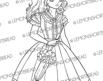 Digital Stamp Shoujo Umbrella Girl, Digi Colouring Page, Gothic Sweet Lolita Art, Kawaii Cute Retro Anime, Fashion, Instant download