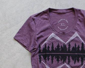 Crater Lake - women t shirt   tshirt women - mountain print on heather plum - camping shirt by Blackbird Tees - CLOSEOUT