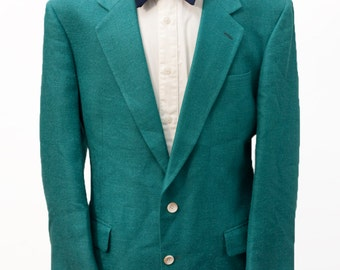 Men's Silk Blazer / Vintage Green Summer Jacket / Size 46 Large XL
