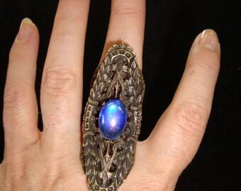 70's Kim Copper Filigree Ring with Blue Cabochon