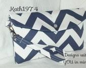 Bridesmaid Clutch - Navy Clutch - Chevron Clutch - Envelope Clutch w/detachable wrist strap/Premier Prints- Zig Zag Navy Blue/BridesmaidGift
