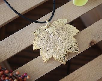 Gold Leaf Necklace, Real Leaf, Maple Leaf Pendant, Full Moon Maple Leaf, 24kt Gold, LL33