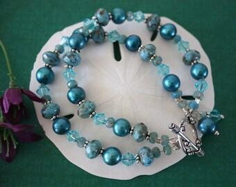 Teal Bracelet Double Strand, Turquoise, Blue Bracelet, Bold Bracelet, Crystal, Pearl Bracelet