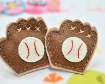 New! 6pcs handmade felt puffy Baseball Glove--pecan glow/chocolate (FT783)