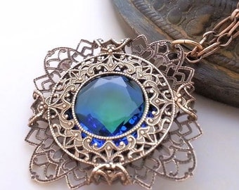Ocean's Treasures filigree necklace, Blue green necklace, Victorian style jewelry, antiqued brass necklace, reversible necklace, pendant