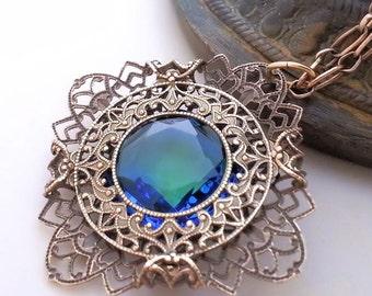 Bluegreen necklace, Filigree necklace,  Art Deco necklace filigree jewelry, antiqued brass necklace, reversible necklace, pendant, gift