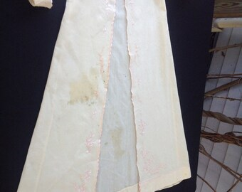 Vintage 1940's Era Well Loved Sheer Pink Robe with Hand Embroidery for Baby
