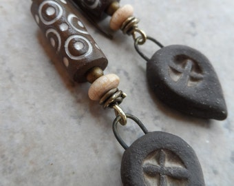 Hugs & Kisses  ... Artisan-Made Ceramic, Wood and Brass Wire-Wrapped Tribal, Earthy, Boho Earrings