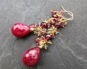 Ruby earrings in 14k gold fill with opal and raspberry garnet - wire wrapped - sleeping beauty - rose red -  holiday jewelry