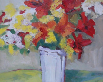Still Life Oil Painting:  Red Lilies// Original Art// Wall Decor 8 x 10