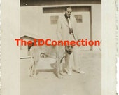 1968 Black & White Photograph, Man with his Great Dane Dog, Pup, Blue Tone Prints by Lips, Mans Best Friend