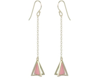 Dangling Silver and Pink Enamel Pyramid Earring // Hand Enameled 3-D Pyramid Silver Earrings by Virginie Millefiori // Choose Any Color