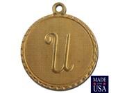 Raw Brass Letter U Initial Charm Drop with Loop (1) chr190U
