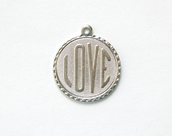 Matte Silver Plated Love Word Charm Drop with Loop (1) chr197AA