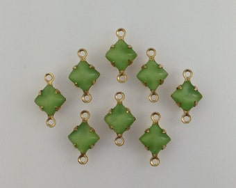 Green Moonglow Square Glass Stones 2 Loop Brass Setting 6mm (8) squ001FF2
