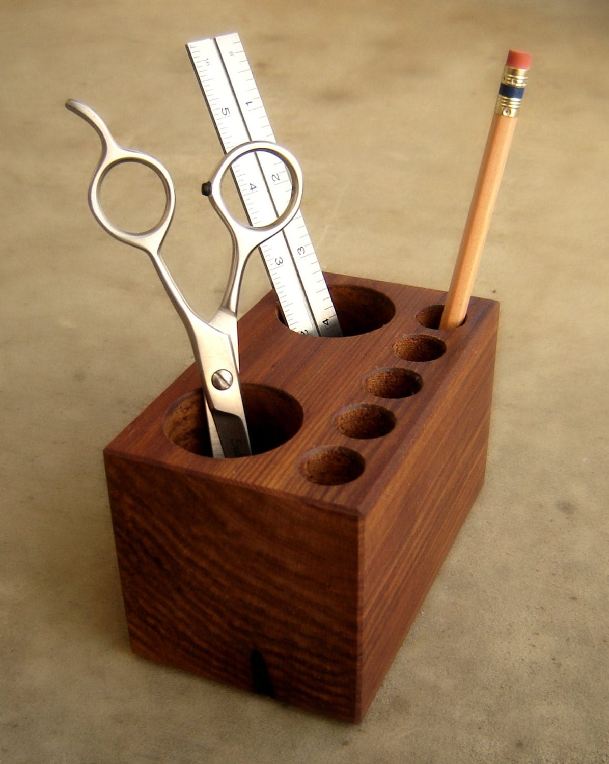 Office Desk Caddy Pen Holder Solid Wood By Andrewsreclaimed