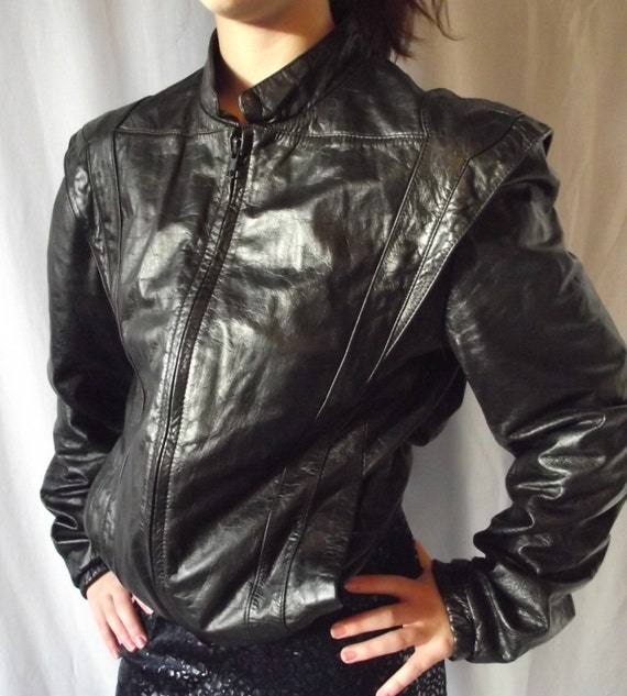 VIntage Leather Jacket - Casablanca Mens Cropped 1980s Style - Size 38 - Motorcycle Jacket