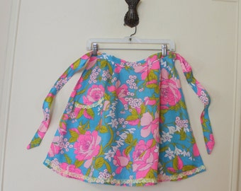 vintage 1960s Dazzling Turquoise Blue and Hot Pink Apron - kitchen linen, housewarming, rose garden,