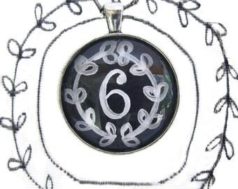 chalkboard number six, handpainted original artwork, hand painted chalkboard numbers necklace