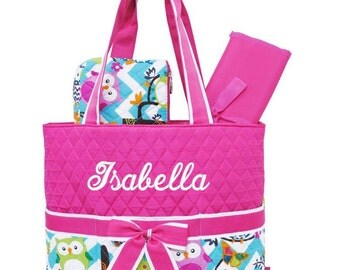 Diaper Bag Personalized Hot Pink Owl Chevron Quilted Monogrammed