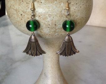 Lotus Earrings,  Green Beads