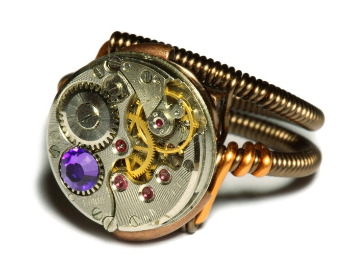 Steampunk ring, Steampunk Jewelry, Vintage Watch Movement Steampunk Ring with Heliotrope Crystal
