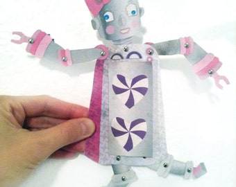 Printable PDF Paper Doll Cute Girl Robot & I Love You Card, Fun Paper Crafts, Pink, Gray, Purple, Heart